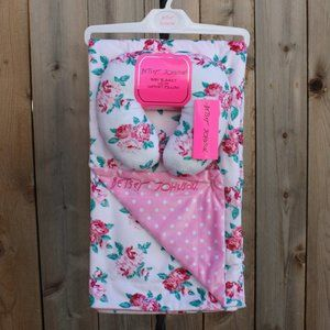 Betsey Johnson Floral Baby Blanket with Pillow NWT